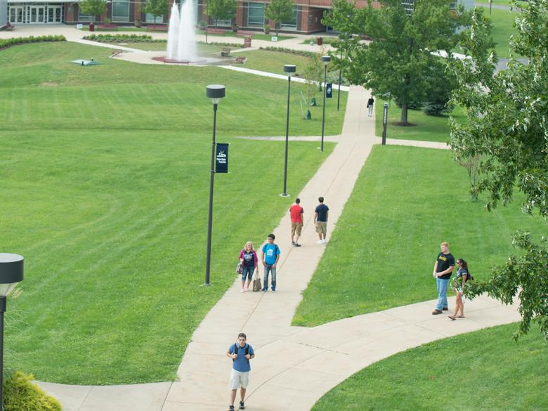 walkways on college campus